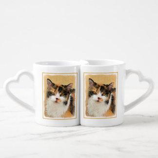 Calico Cat Painting - Cute Original Cat Art Coffee Mug Set