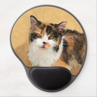 Calico Cat Painting - Cute Original Cat Art Gel Mouse Pad