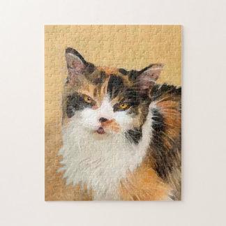 Calico Cat Painting - Cute Original Cat Art Jigsaw Puzzle
