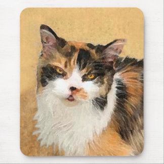 Calico Cat Painting - Cute Original Cat Art Mouse Pad