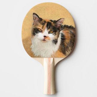 Calico Cat Painting - Cute Original Cat Art Ping Pong Paddle