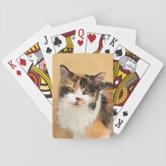 Calico Cat Painting - Cute Original Cat Art Playing Cards