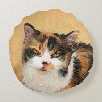 Calico Cat Painting - Cute Original Cat Art Round Pillow