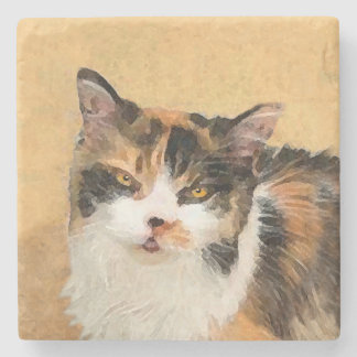 Calico Cat Painting - Cute Original Cat Art Stone Coaster