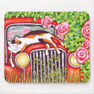 Calico Cat, Roses & Old Car  Art Mousepad
