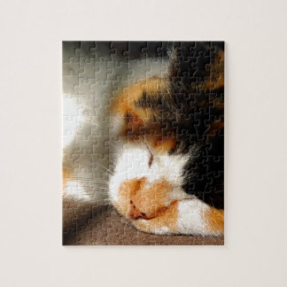 Calico Cat Sunning Jigsaw Puzzle