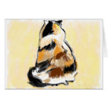 Calico cat viewed from the back cards