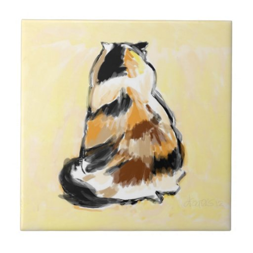 Calico cat viewed from the back ceramic tiles