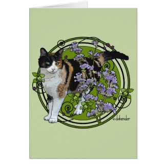 Calico Cat with Nepeta Card