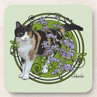 Calico Cat with Nepeta Coaster