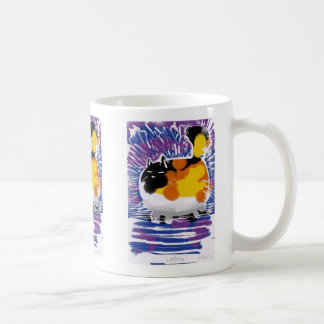 calico cat woodcut print basic white mug