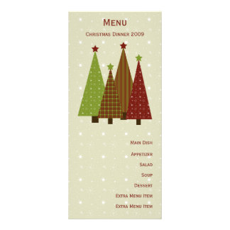Calico Christmas Trees Menu Card