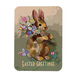 calico easter bunny magnet
