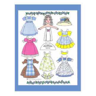 Calico Girl Rachel Old-Fashioned Paper Doll Postcard