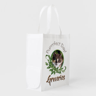 Calico Green Eyed Kitten Reusable Grocery Bag
