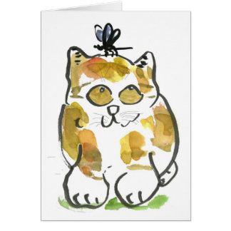 Calico Kitten and Dragonfly Card