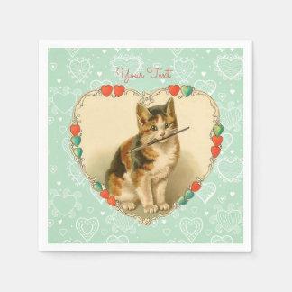 Calico Kitten Valentine Hearts Napkin