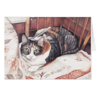 Calico Kitty Art Greeting Card