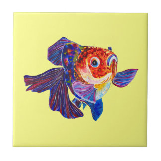 Calico Veiltail Goldfish on yellow tile