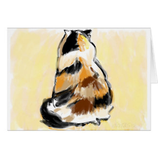 Calico viewed cat from the back greeting card