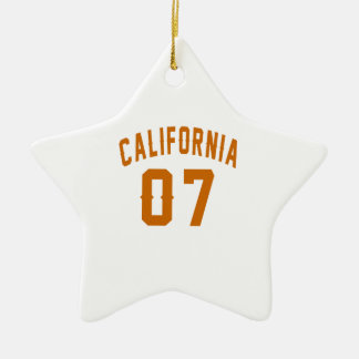 California 07 Birthday Designs Ceramic Star Ornament