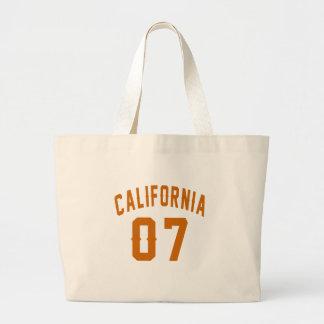 California 07 Birthday Designs Large Tote Bag