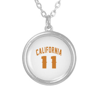 California 11 Birthday Designs Silver Plated Necklace