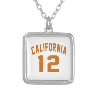 California 12 Birthday Designs Silver Plated Necklace