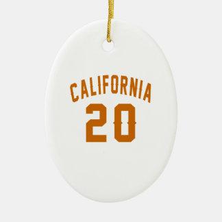 California 20 Birthday Designs Ceramic Oval Ornament