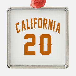 California 20 Birthday Designs Silver-Colored Square Ornament