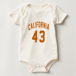 California 43  Birthday Designs Baby Bodysuit