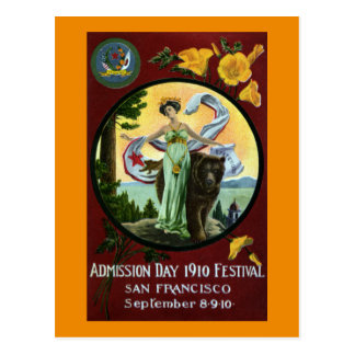 California Admission Day Festival Woman with Bear Postcard