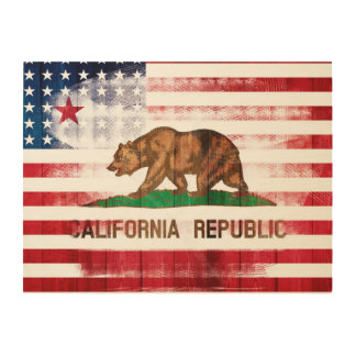 California American Flag Brush Strokes Wood Canvases