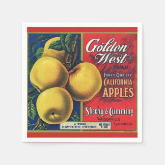 California Apple Crate Label Disposable Napkins