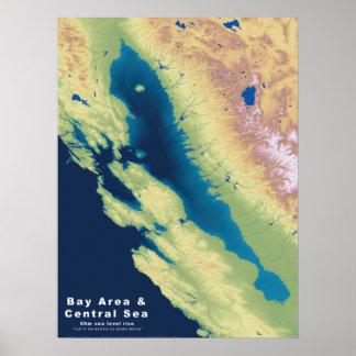 California Bay Area Central Sea--Sea Rise Map Poster