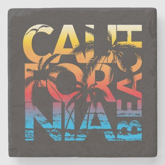 California Beach Poster Stone Coaster