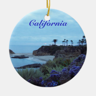 California Beach View Ceramic Ornament