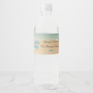 California, Beach with Palm Trees Water Bottle Label