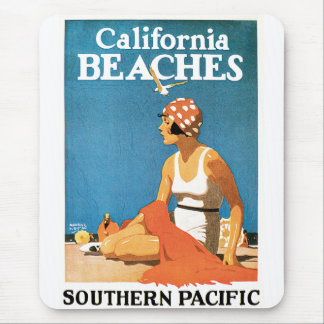 California Beaches Vintage Travel Poster Mouse Pad