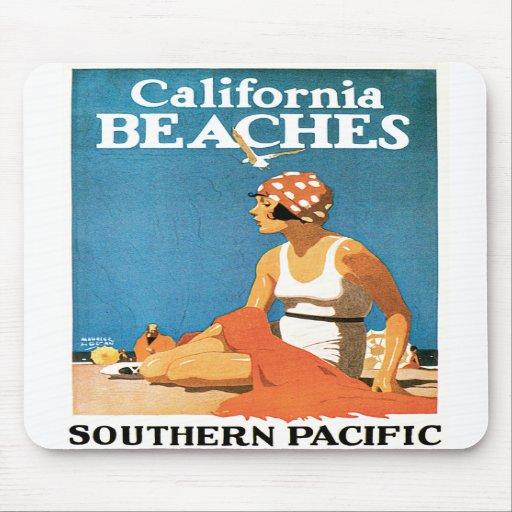 California Beaches Vintage Travel Poster Mousepad