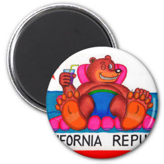 California Bear Feet Flag Magnet