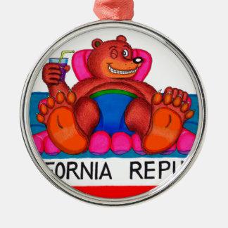 California Bear Feet Flag Metal Ornament