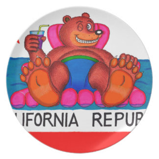 California Bear Feet Flag Plate