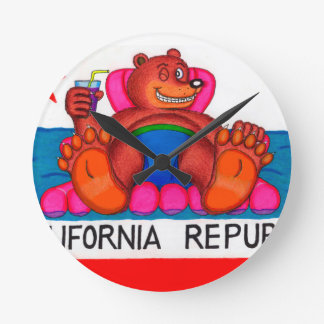 California Bear Feet Flag Round Clock