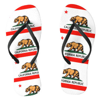 California Bear Flag Flip Flops