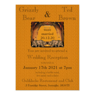 California Bear Just Married Reception Invitation