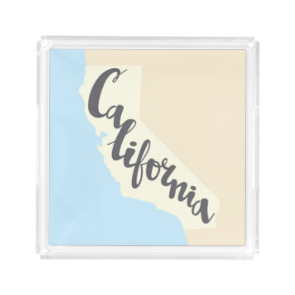 California Brush Lettering With Silhouette Map Acrylic Tray