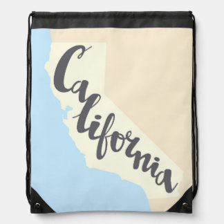 California Brush Lettering With Silhouette Map Drawstring Bag