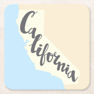 California Brush Lettering With Silhouette Map Square Paper Coaster