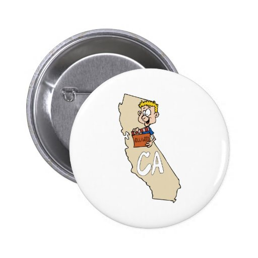 California CA Map & funny Hollywood Movie Action Pinback Buttons